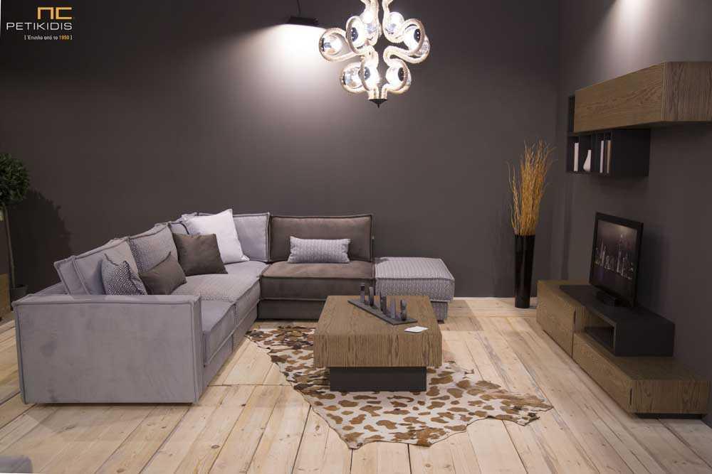 Σαλόνι γωνιά Leggo σε κομμάτια που μπορούν να αυξομειώσουν τις διαστάσεις με διαφορετικά υφάσματα σ γκρι και καφέ συνδυασμούς.