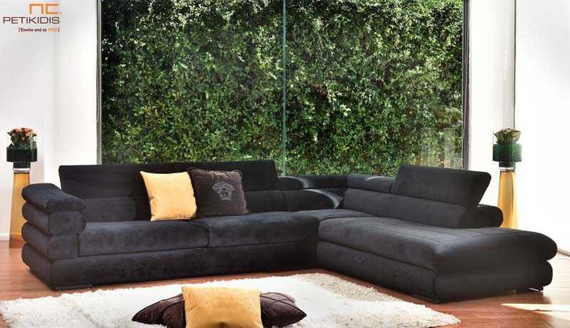 Σαλόνι γωνία Armani με μηχανισμό ανάκλησης στην πλάτη με μαύρο βελούδινο αδιάβροχο ύφασμα.