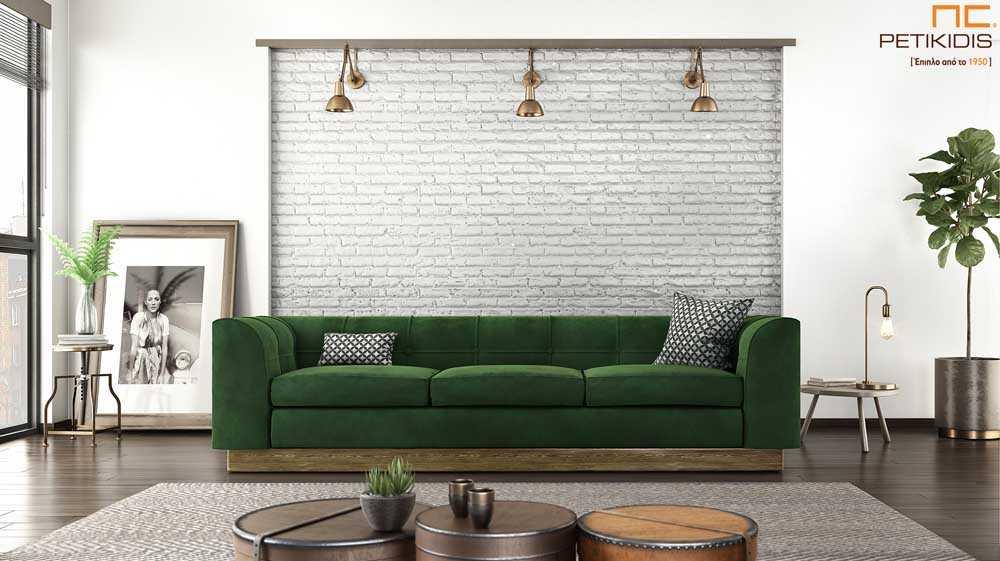 Καναπές Velvet με ξύλινη βάση με πράσινο βελούδινο ύφασμα αδιάβροχο.