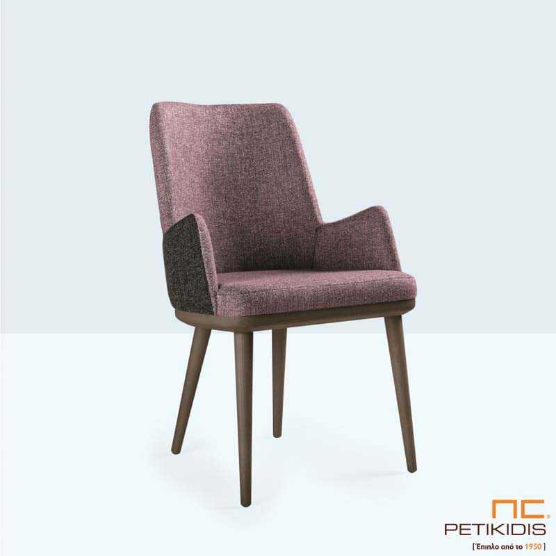Υφασμάτινη Καρέκλα CAMELIA (A82) με Πόδια από Δρυς