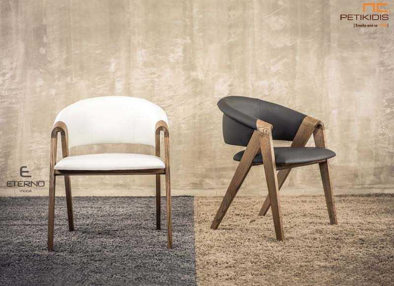 Καρεκλοπολυθρόνα Feel.Κατασκευασμένη από ξύλο δρυς σε συνδυασμό με ύφασμα ή τεχνόδερμα σε λευκό ή μαύρο. Το κύριο χαρακτηριστικό είναι η άνεση και ο σχεδιασμός της.