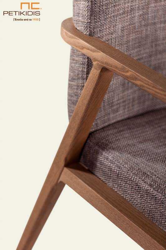 Καρεκλοπολυθρόνα MORONA (A71) - Ύφασμα & Ξύλο Δρυς