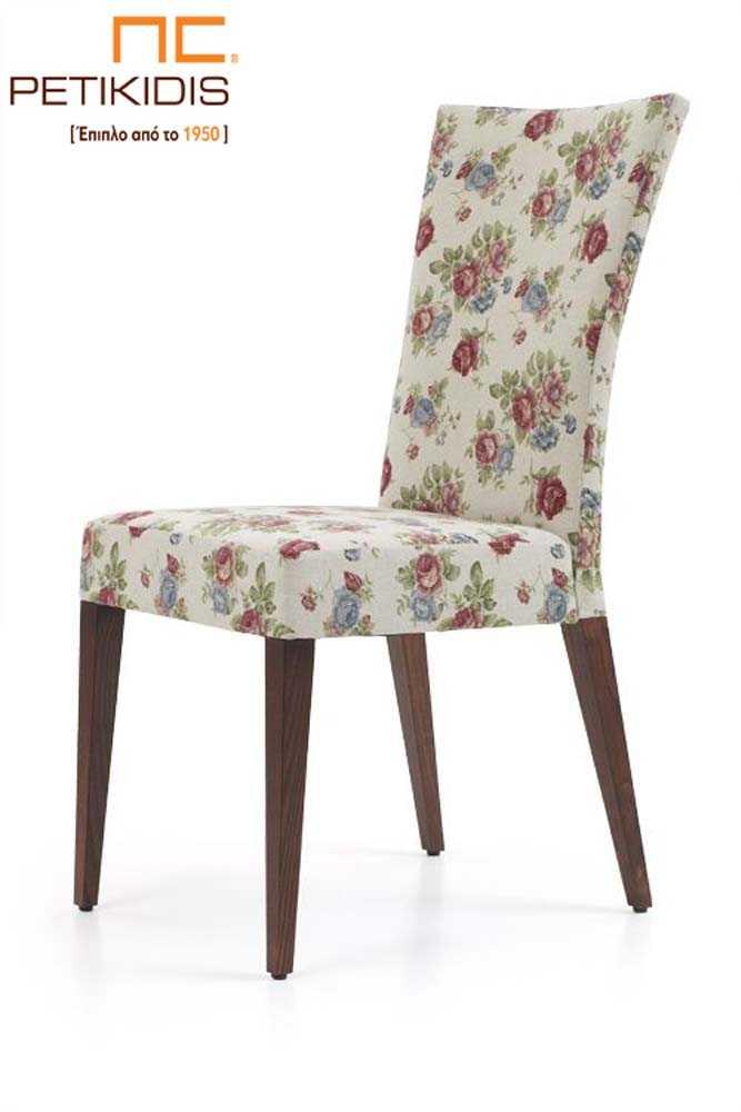Καρέκλα Νο145 σε κλασικό ύφος με ιδιαίτερο ύφασμα με λουλούδια σε vintage ύφος και πόδια από μασίφ οξιά.