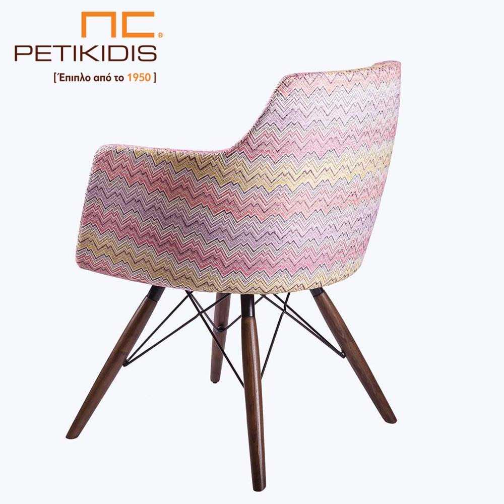 Καρεκλοπολυθρόνα Νο149 με πόδια από μασίφ ξύλο δρυς σε συνδυασμό με μεταλλικές ακτίνες. Το ύφασμα είναι σε συνδυασμούς χρωμάτων.