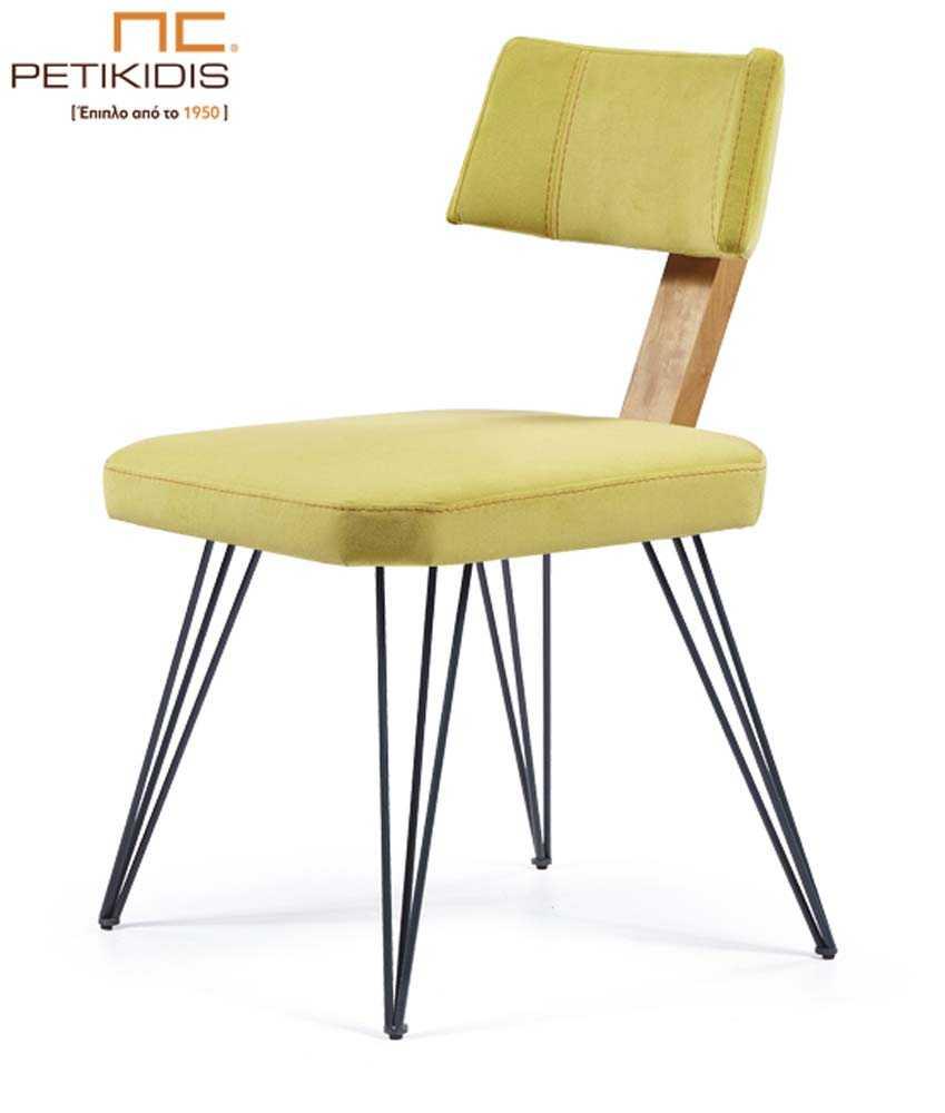 Καρέκλα Νο230 με μεταλλικά πόδια και ξύλινη λεπτομέρεια στην πλάτη. Το μαξιλάρι στο κάθισμα και στην πλάτη είναι με ύφασμα αλέκιαστο και αδιάβροχο σε κίτρινο χρώμα.