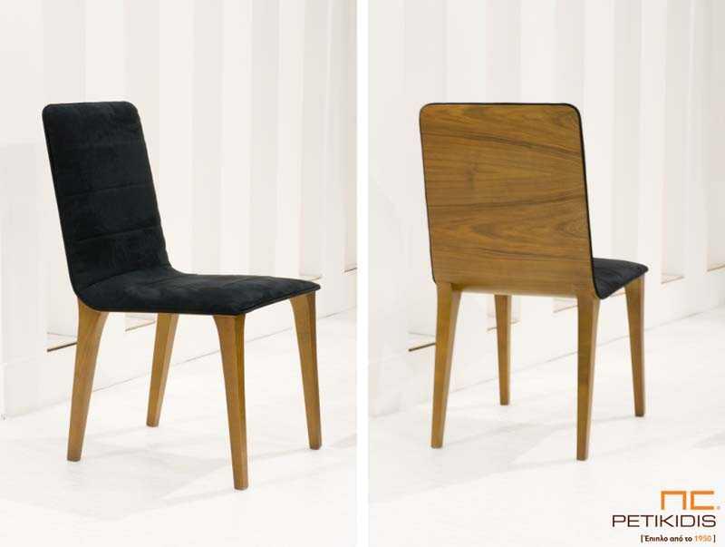 Καρέκλα No150 με σκελετό και εξωτερικό πλάτης από ξύλο καρυδιάς. Το κάθισμα και το εσωτερικό της πλάτης είναι με μαύρο βελούδο αδιάβροχο ύφασμα.Παράγεται και σε ξύλο δρυς.