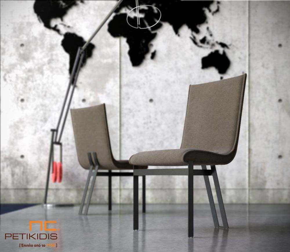 Καρέκλα Nouovo με μεταλλικό σκελετό σε πολύ ιδιαίτερο σχέδιο με τρία πόδια. To κάθισμα είναι με ύφασμα σε γκρι μπεζ τόνους, αδιάβροχο και αλέκιαστο.