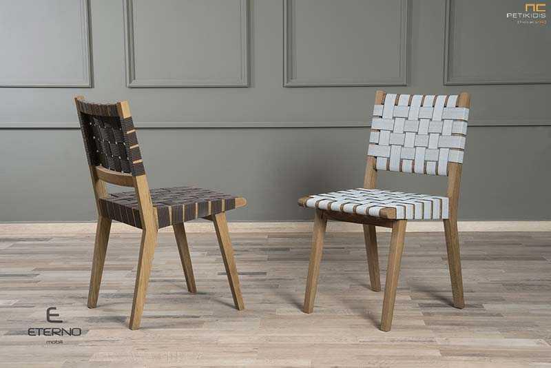 Καρέκλα Steel κατασκευασμένη από μασίφ ξύλο δρυς. Ιδιαίτερο χαρακτηριστικό της είναι ο ιμάντας στην πλάτη και το κάθισμα και παράγεται σε δύο χρωματισμούς.