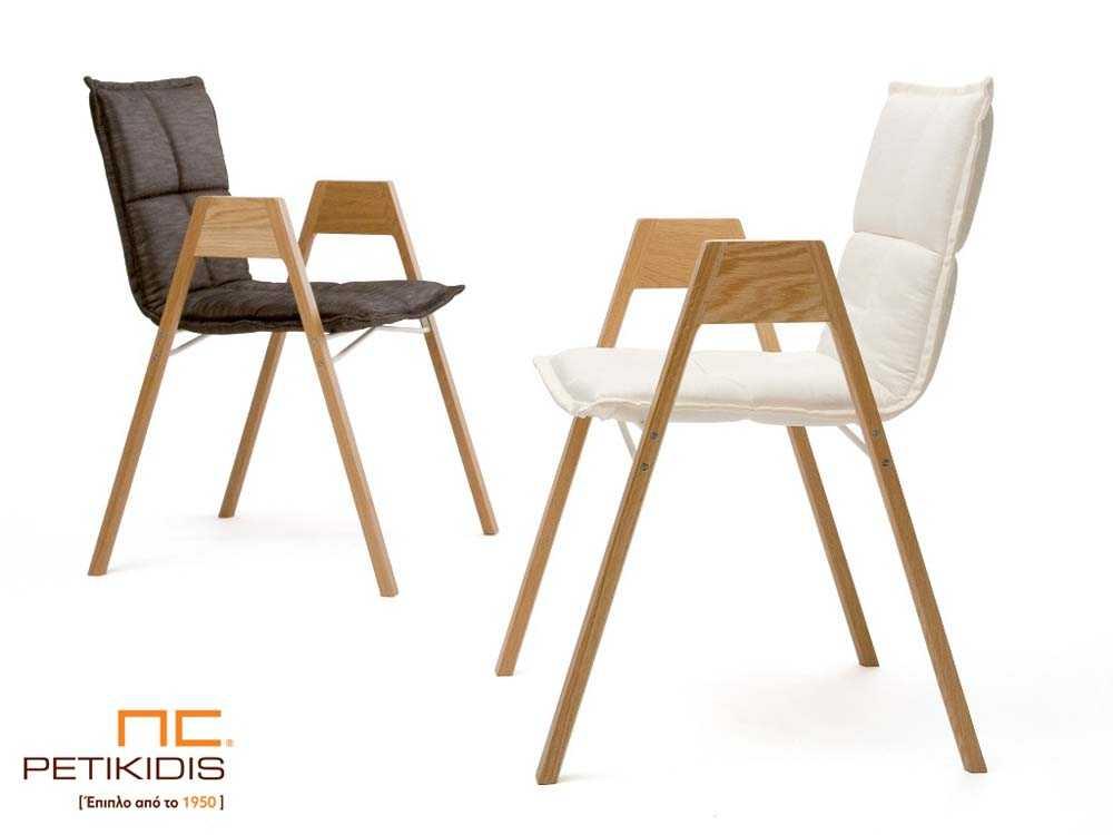 Καρεκλοπολυθρόνα Κ3 με σκελετό από μασίφ οξιά.Η πλάτη και το κάθισμα είναι από ύφασμα μαύρο ή λευκό με διακοσμητικά γαζιά αλέκιαστο και αδιάβροχο.