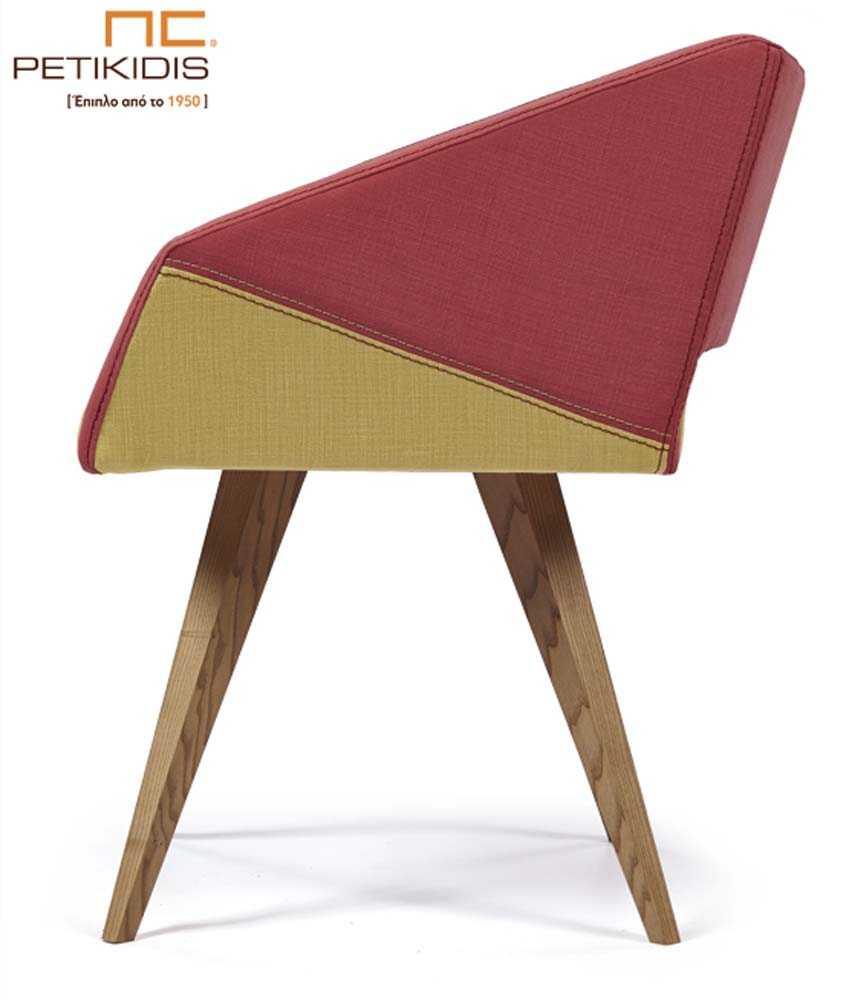 Καρεκλοπολυθρόνα Νο241 με πόδια από μασίφ δρυς .Το κάθισμα και η πλάτη είναι από ύφασμα σε συνδυασμό κίτρινου και κόκκινου χρώματος αλέκιαστο και αδιάβροχο. Λεπτομέρεια.