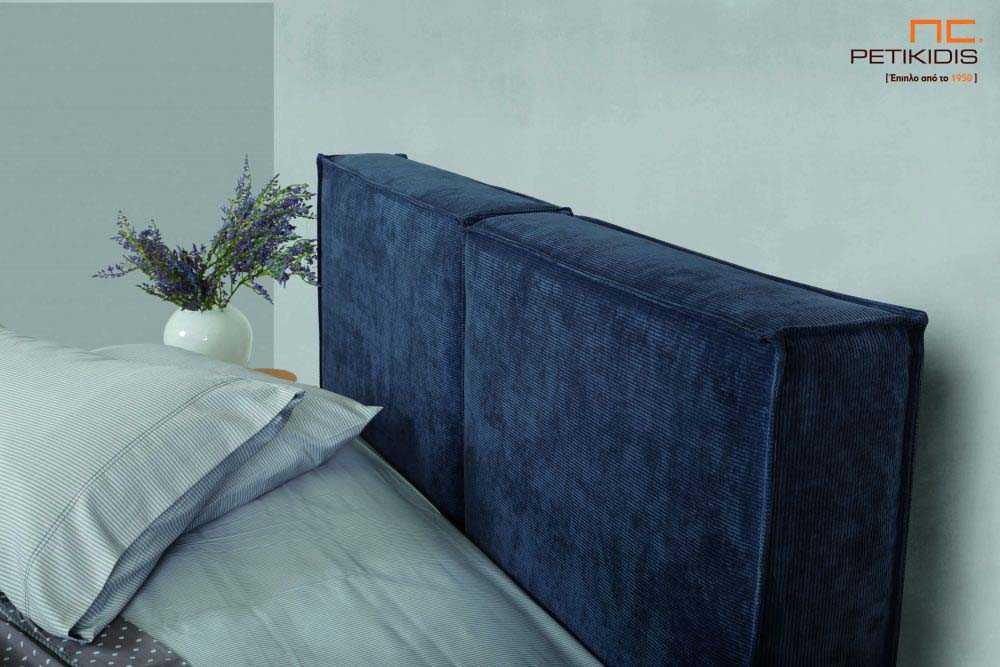 Υφασμάτινο κρεβάτι Cozy της Linea Strom σε μπλε ύφασμα μονόχρωμο.Το ύφασμα αφαιρείται από βάση και κεφαλάρι για εύκολο καθάρισμα.Λεπτομέρεια κεφαλαριού.