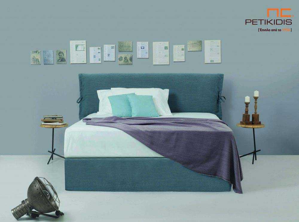 Υφασμάτινο κρεβάτι Divina της Linea Strom σε μονόχρωμο ύφασμα..Το ύφασμα είναι αποσπώμενο και από τη βάση και από το κεφαλάρι. .