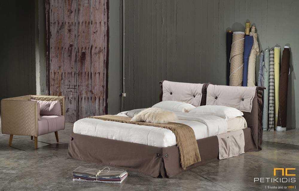 Υφασμάτινο κρεβάτι Lobby με αποσπώμενο ύφασμα και από τη βάση και από το κεφαλάρι.