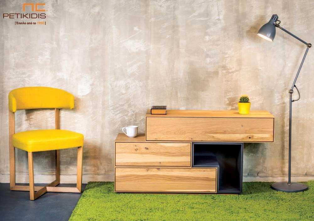 Τουαλέτα κρεβατοκάμαρας Cube από ξύλο δρυς ρουστίκ και λεπτομέρεια λάκας.