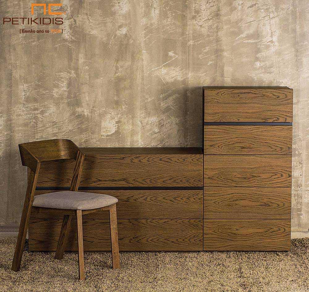 Τουαλέτα και συρταριέρα κρεβατοκάμαρας Line σε δρυς ρουστίκ ξύλο