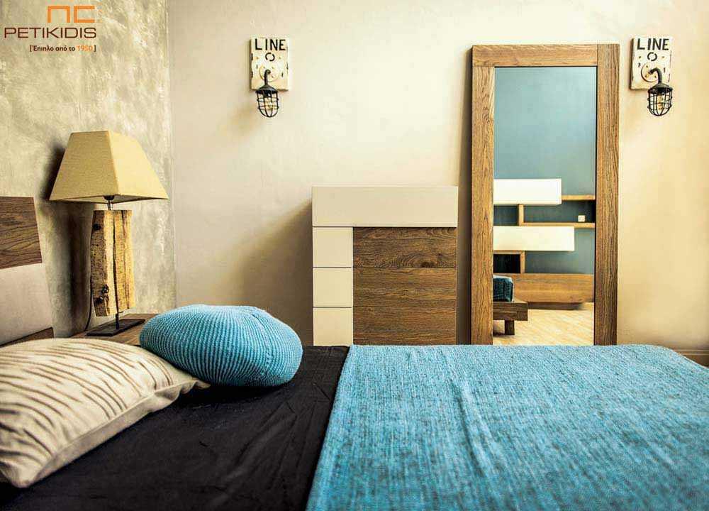 Συρταριέρα και ολόσωμος καθρέπτης κρεβατοκάμαρας New wood σε ξύλο δρυς ρουστίκ και λάκα.