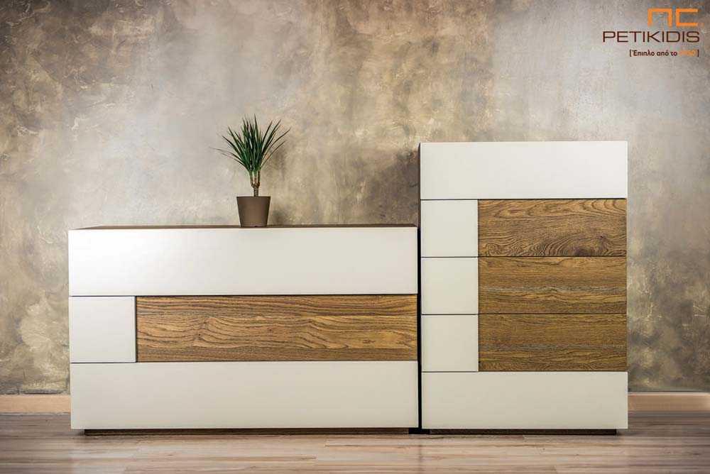Τουαλέτα και συρταριέρα κρεβατοκάμαρας New wood σε ξύλο δρυς ρουστίκ και λάκα
