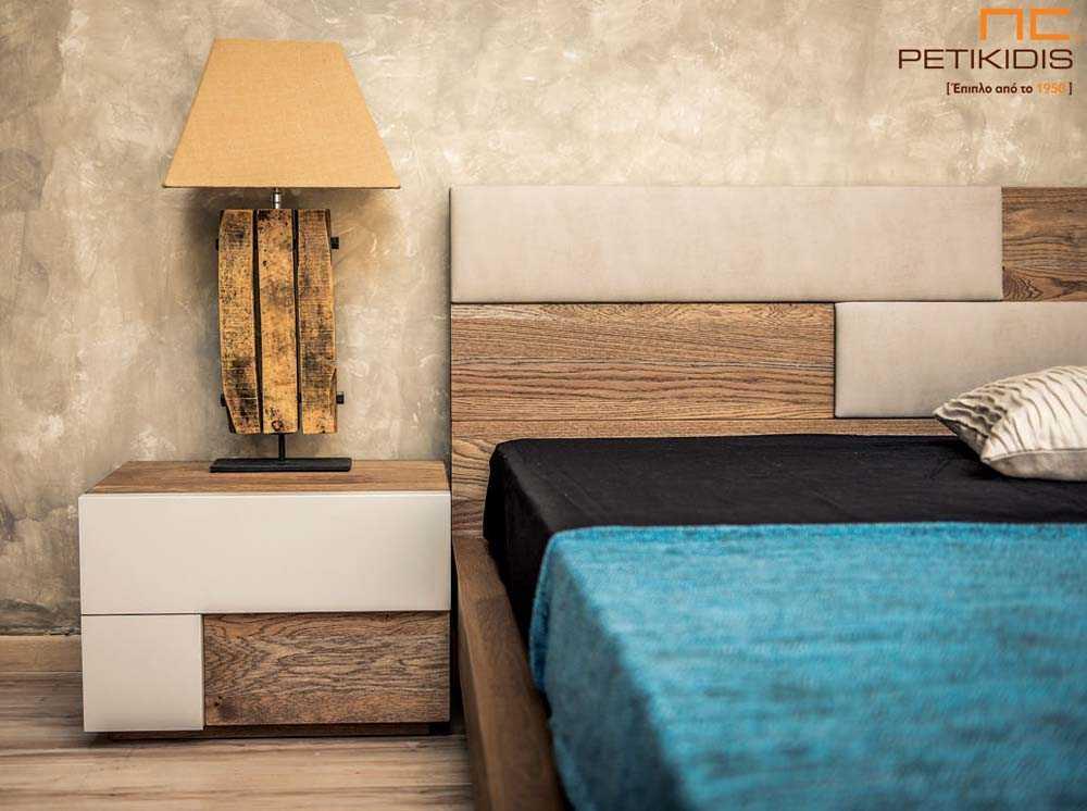 Κρεβατοκάμαρα New wood σε ξύλο δρυς ρουστίκ και λεπτομέρειες στο κεφαλάρι από τεχνόδερμα και λάκα στα συρτάρια των κομοδίνων. Λεπτομέρεια κομοδίνου.