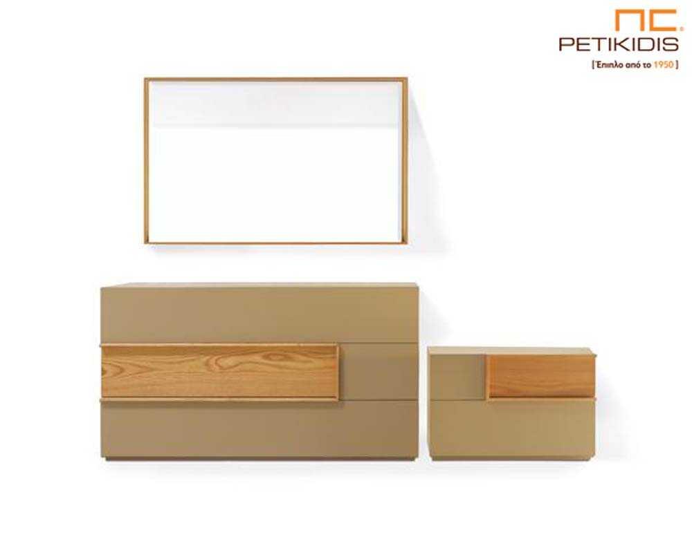 Τουαλέτα, καθρέπτης και κομοδίνο κρεβατοκάμαρας solid σε ξύλο δρυς και λάκα.