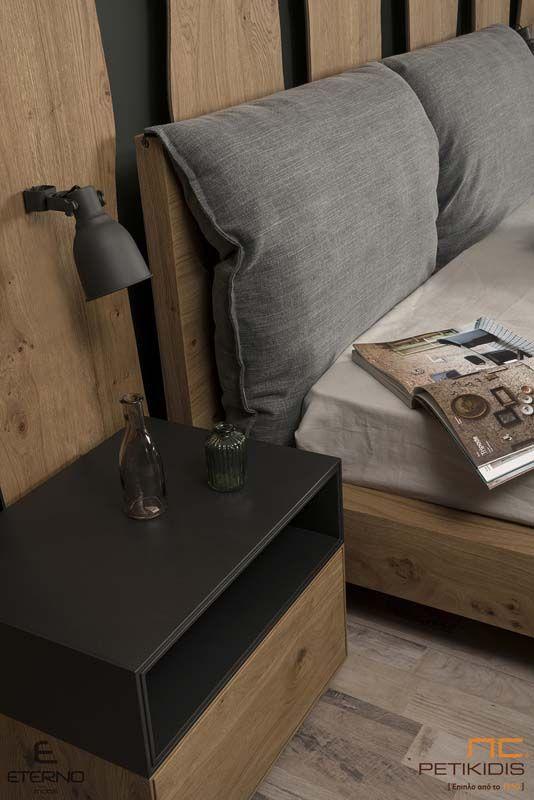 Κρεβατοκάμαρα Box με Υφασμάτινο Κεφαλάρι - Ξύλο Δρυς Ρουστίκ
