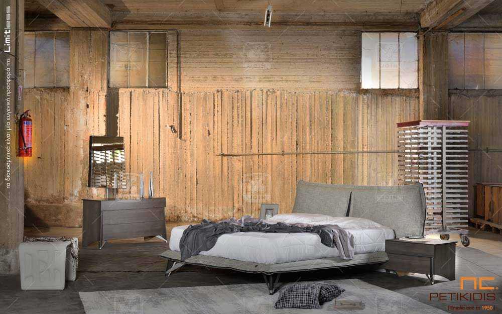 Κρεβατοκάμαρα Διώνη της join. Είναι κατασκευασμένη από ξύλο ελιάς και διαθέτει αποσπώμενο ύφασμα.