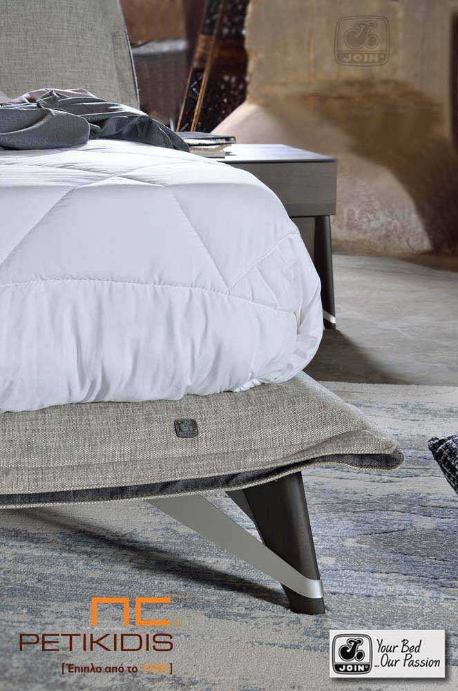Κρεβατοκάμαρα Διώνη της join. Είναι κατασκευασμένη από ξύλο ελιάς και διαθέτει αποσπώμενο ύφασμα. Λεπτομέρεια ποδιού.