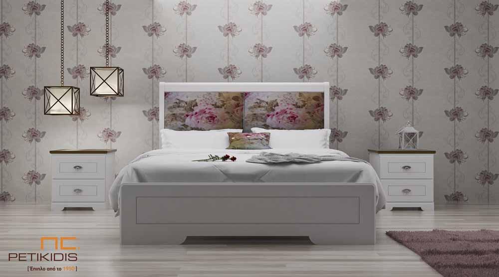 Κρεβατοκάμαρα Land σε ξύλο και λάκα εκρού σε ρομαντικό ύφος και υφασμάτινο κεφαλάρι με λουλούδια floral