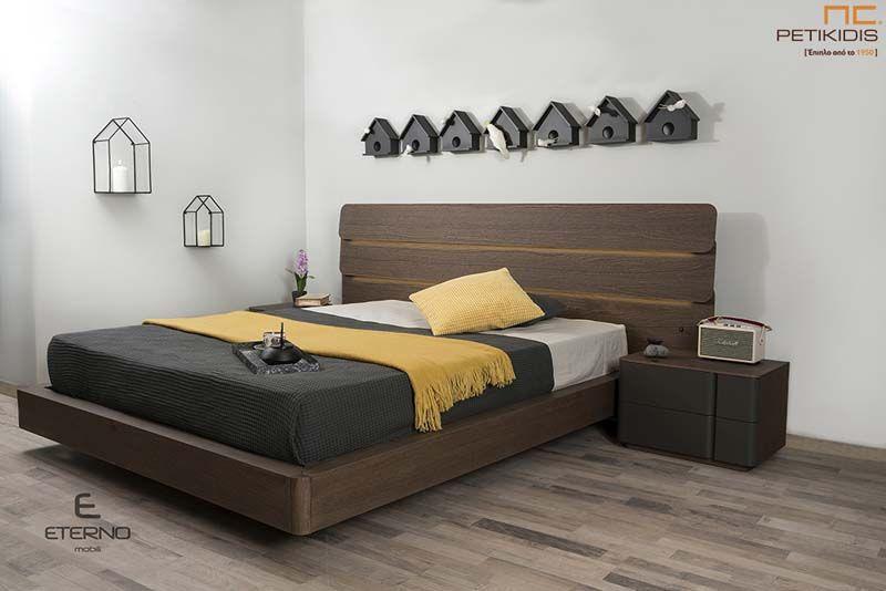 Κρεβατοκάμαρα Nest με Τουαλέτα από Δρυ Λάκα & Φωτισμό στο Κεφαλάρι