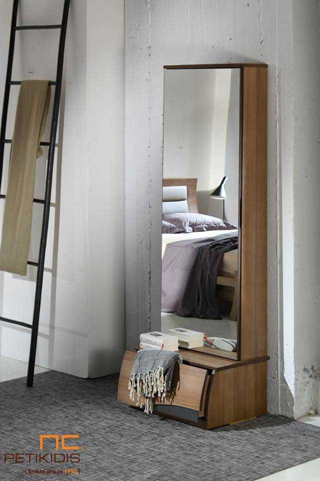 Κρεβατοκάμαρα Delfis Join από Ξύλο - Ολόσωμος Καθρέπτης με Ντουλάπι / Συρτάρι