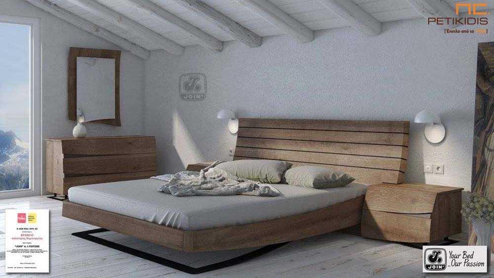 Κρεβατοκάμαρα Άλκηστις της join ρουστίκ με ξύλινο κεφαλάρι και μεταλλικό πόδι