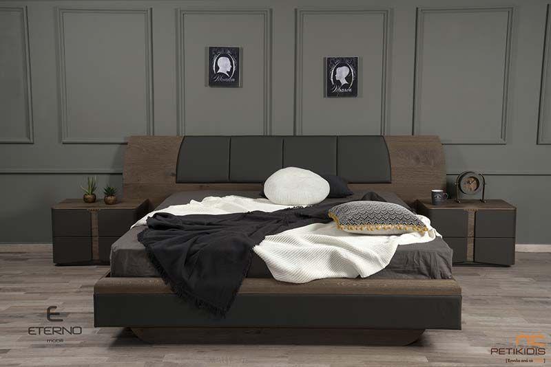 Κρεβατοκάμαρα Soho με Τουαλέτα από Ξύλο Δρυ Ρουστίκ & Κεφαλάρι από Τεχνόδερμα Λάκα