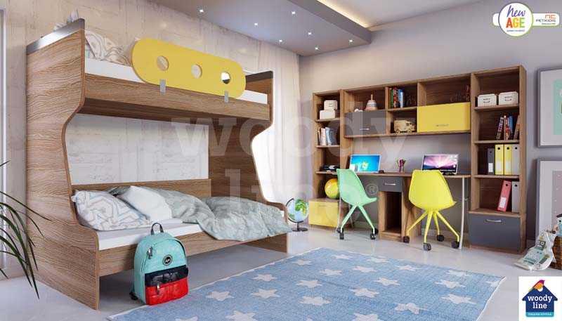 Παιδικό Δωμάτιο με Κουκέτα & Διπλό Γραφείο