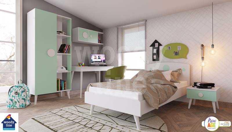 Παιδικό Δωμάτιο Κοχύλι με Κρεβάτι, Γραφείο & Βιβλιοθήκη