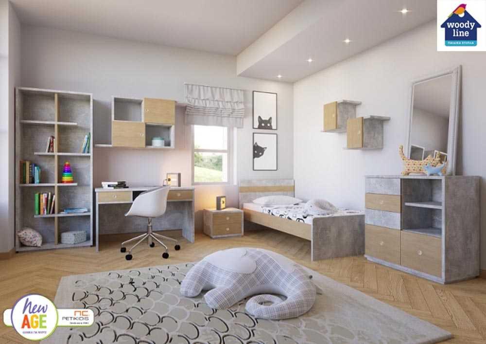 Παιδικό Δωμάτιο Τσιμέντο Κρεβάτι - Woodyline