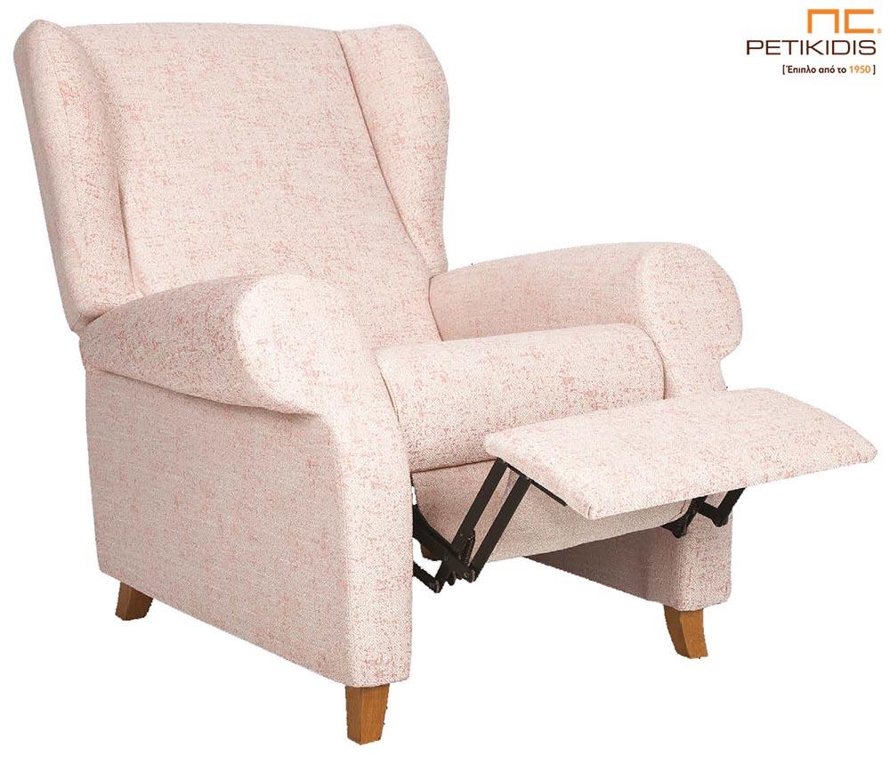 Πολυθρόνα Ιθάκη με ξύλινα πόδια σε νεοκλασικό ύφος και με χειροκίνητο μηχανισμό Relax. Ύφασμα μονόχρωμο αλέκιαστο και αδιάβροχο.