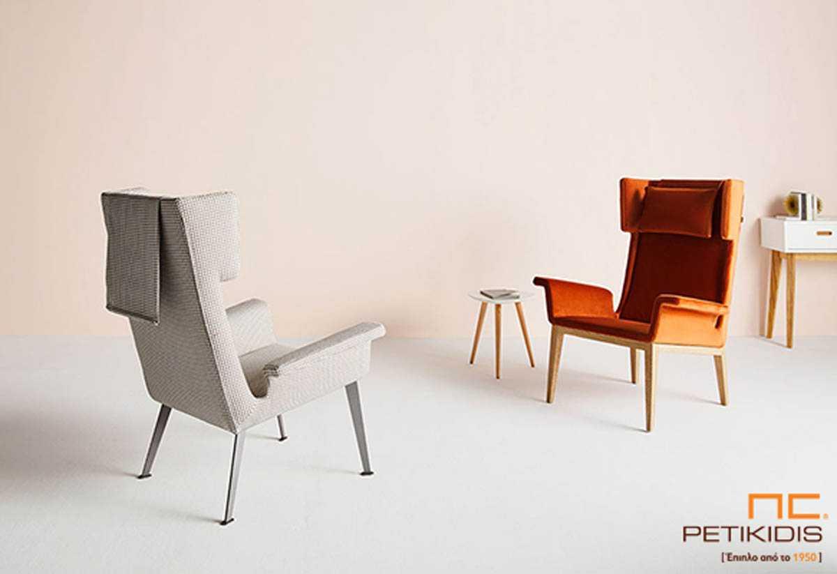 Πολυθρόνα Vintage με ιδιαίτερο σχεδιασμό και ύφασμα αλέκιαστο και αδιάβροχο σε πορτοκαλί και γκρι αποχρώσεις.