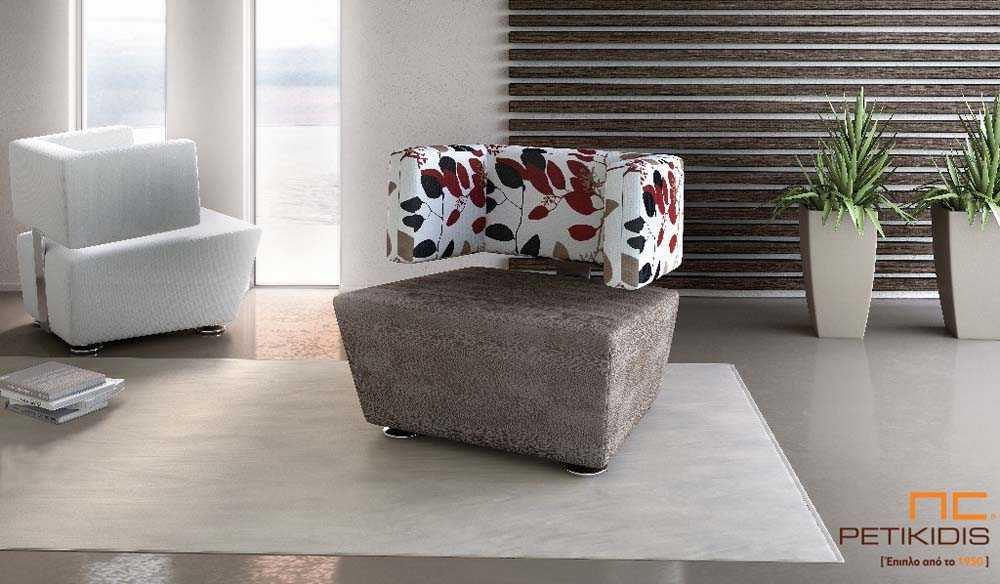Πολυθρόνα Desire ιδανική για μικρούς χώρους με συνδυασμό του καθίσματος καφέ μονόχρωμου υφάσματος και πλάτης λουλούδια σε λευκό,καφέ σκούρο και κόκκινο.