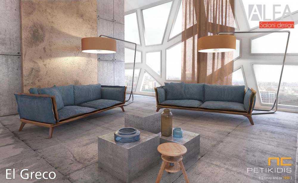 Σαλόνι Alegro σε διθέσιο και τριθέσιο καναπέ με ξύλινη βάση. Το ύφασμα είναι σε μπλε-γκρι αποχρώσεις και οι ιδιαίτερες πιέτες του είναι σε καφέ ύφασμα.