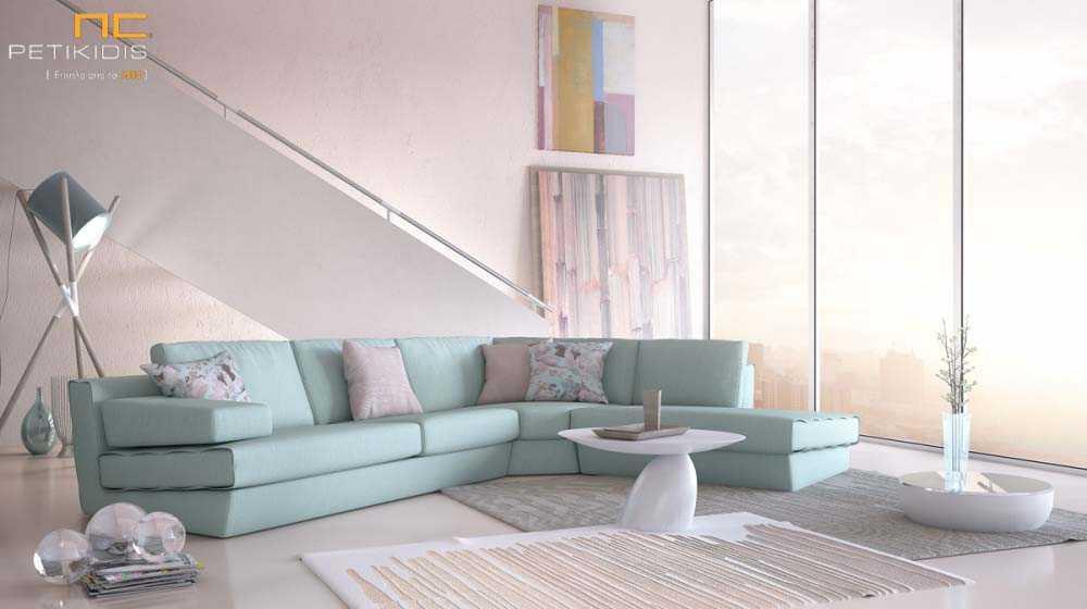 Σαλόνι γωνία Comfort σε ανοιχτό τιρκουάζ χρώμα και ύφασμα αλέκιαστο και αδιάβροχο.