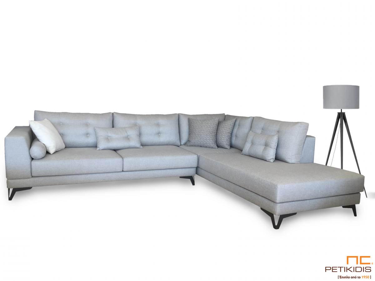 Σαλόνι γωνία Electra με μεταλλικά πόδια και καπιτονέ μαξιλάρια πλάτης.