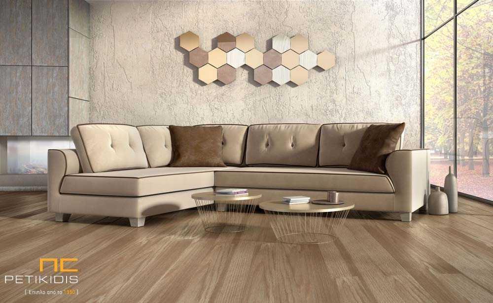 Σαλόνι γωνία Fashion με ύφασμα σε ανοιχτή καφέ απόχρωση αλέκιαστο και αδιάβροχο.