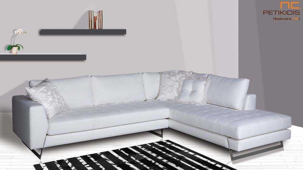 Σαλόνι Ferret με μεταλλικά πόδια και ύφασμα σε λευκό τόνο αδιάβροχο και αλέκιαστο.