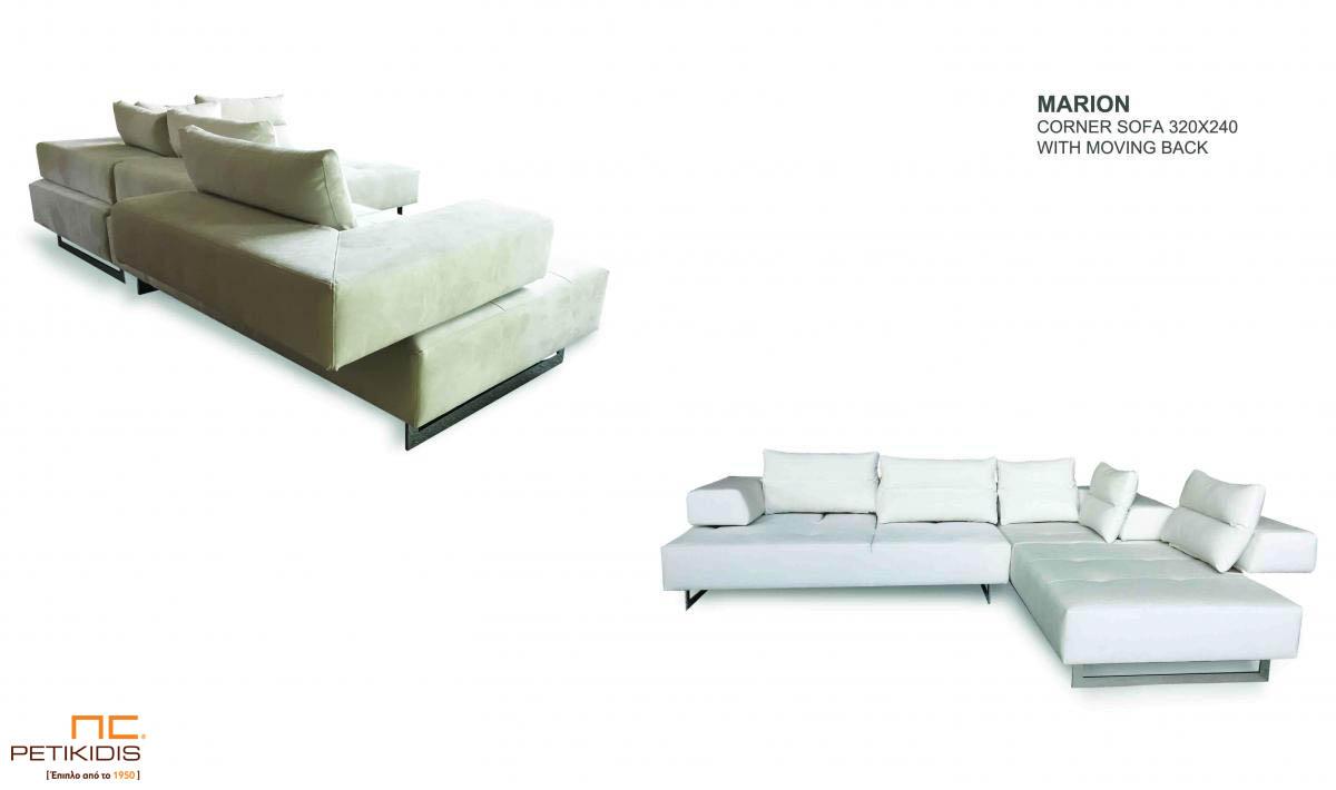 Σαλόνι γωνία Marion με καπιτονέ μαξιλάρι στο κάθισμα και μηχανισμό που δίνει τη δυνατότητα να εκμεταλλευτούμε όλο το βάθος το σαλονιού. Το ύφασμα είναι λευκό αλέκιαστο και αδιάβροχο με μεταλλικά πόδια. Λεπτομέρεια.