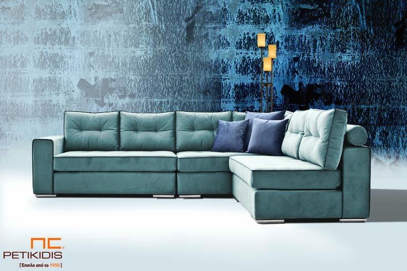 Σαλόνι γωνία Melbourne με καπιτονέ μαξιλάρια στην πλάτη με δυνατότητα αντιστροφής της γωνίας ανάλογα τις απαιτήσεις του χώρου.