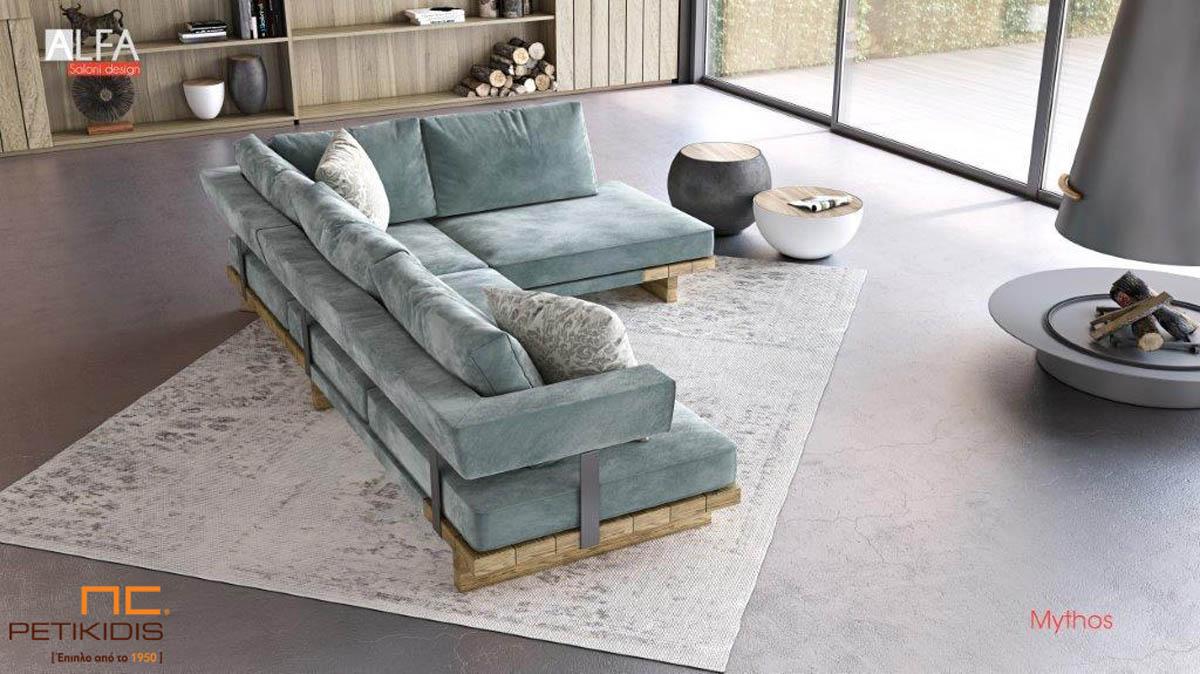 Σαλόνι γωνία Mythos με μασίφ ξύλινη βάση και ιδιαίτερο σχεδιασμό στην πλάτη. Ύφασμα βελούδο αδιάβροχο.