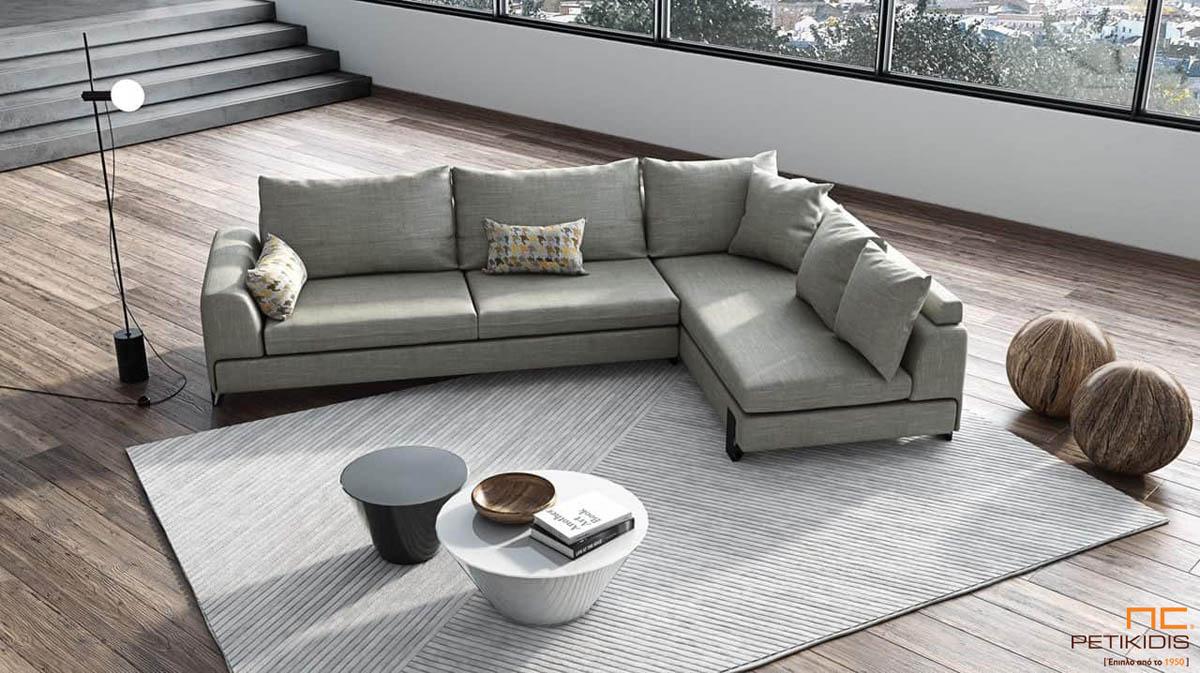 Σαλόνι γωνία New με μεταλλικά πόδια και ύφασμα αλέκιαστο και αδιάβροχο σε γκρι αποχρώσεις.