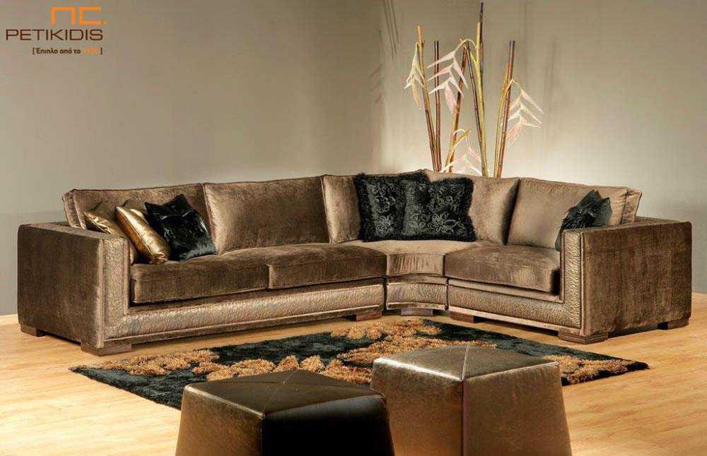 Σαλόνι γωνία Sauvage με καφέ λεπτομέρεια δέρματος και ύφασμα καφέ βελούδο αδιάβροχο.