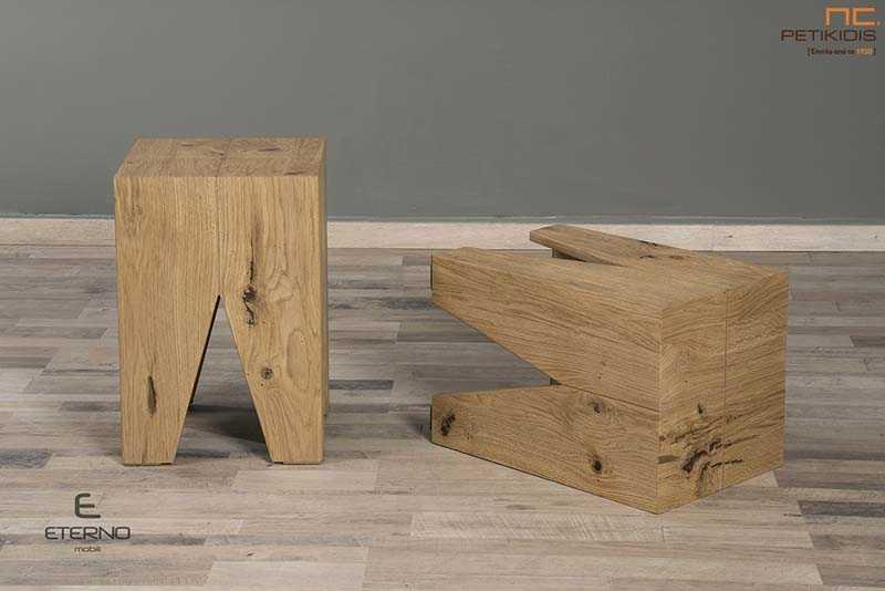 Σκαμπό Cube από ξύλο δρυς ρουστίκ. Μια ξεχωριστή πρόταση υψηλής αισθητικής και πρακτικότητας