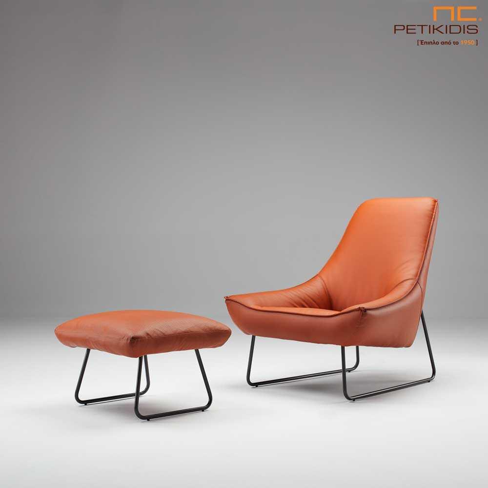 Πολυθρόνα Social με τεχνόδερμα σε πορτοκαλί αποχρώσεις με μεταλλική βάση.Διαθέτει και σκαμπώ υποπόδιο για μεγαλύτερη ανάπαυση.