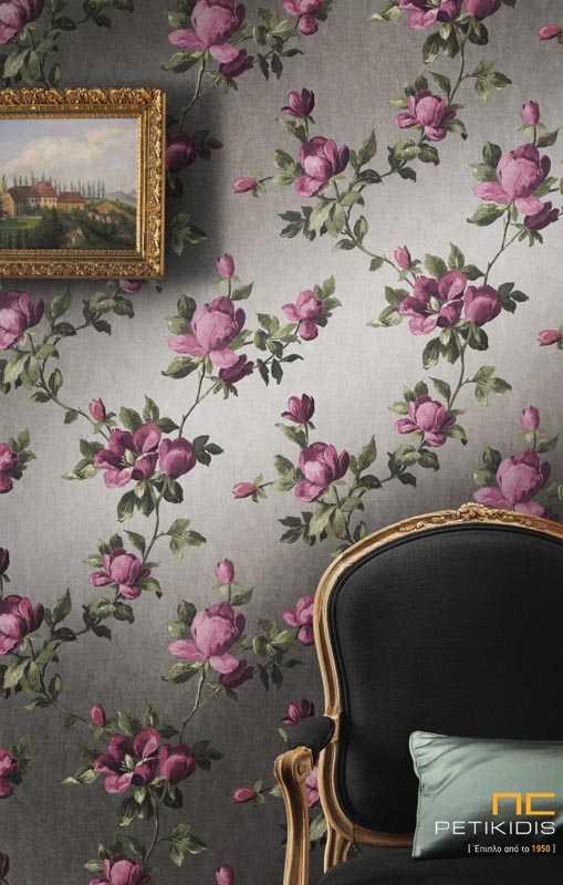 Γκρι Ταπετσαρία Τοίχου Emilia με Μωβ Λουλούδια Rasch - 502169